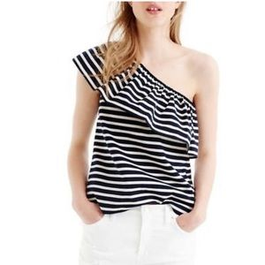 NWT J crew one shoulder navy and white stripe top